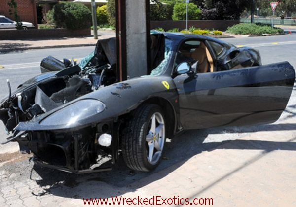 Driver Wraps Ferrari 360 Modena Around A Pole In Australia Wreckedexotics Com