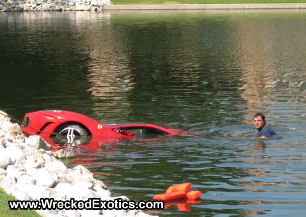 Ferrari F430 wrecked in water