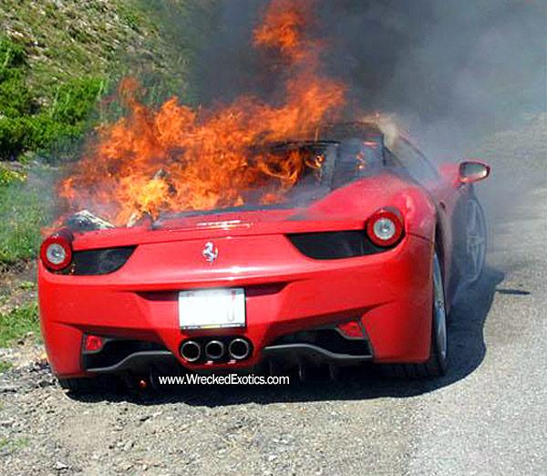 Photos Of Ferrari 458 Italia On Fire