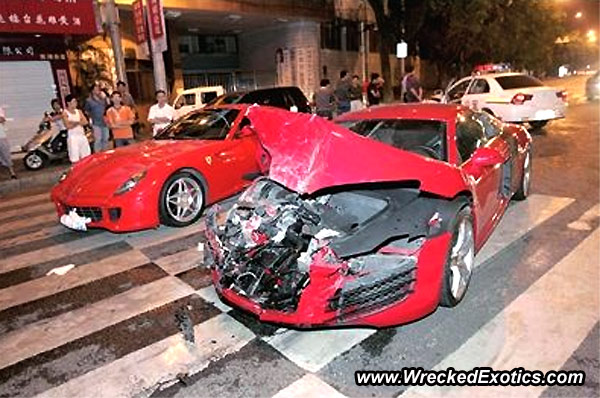 Audi R8 Crashes Into Ferrari 599 Gtb Insurance Car Crash Drivers