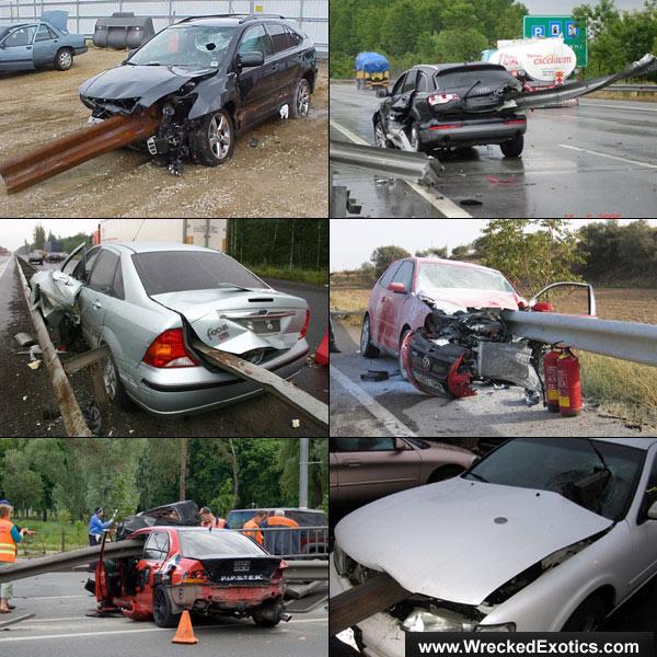 Guardrail Slices Through Audi R8