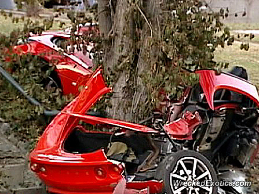Crashed Into A Utility Pole And Tree Car Was Torn In Half