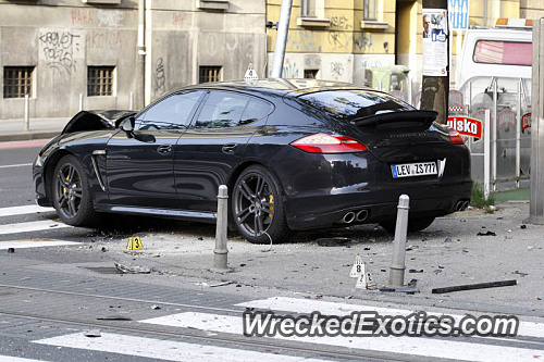 The Panamera Collided With Another Car And Veered Into A Traffic