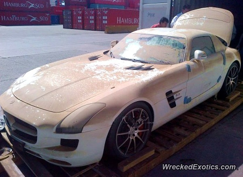 New Mercedes SLS AMG Fell Off The Boat While Being Shipped