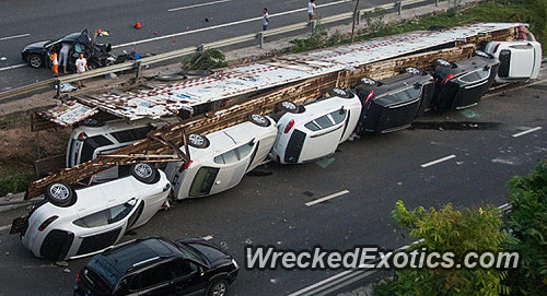 Truck Carrying Porsches Overturns And Causes 1 6 Million In Damages