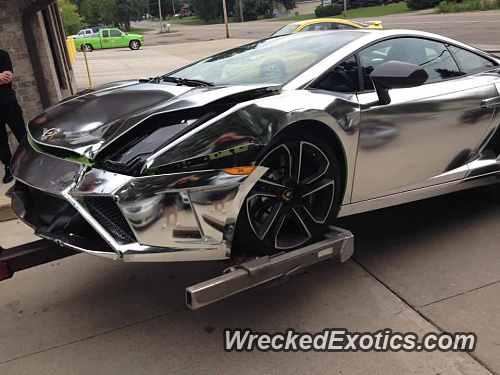Girl Crashes Chrome Wrapped Lamborghini That Parents Bought Her