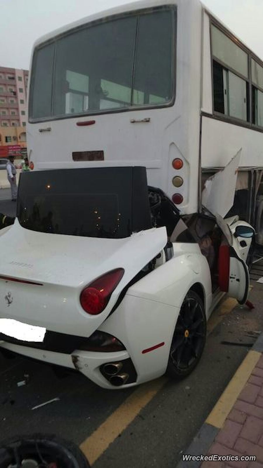Ferrari California crashes into truck