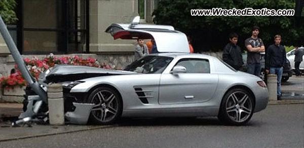 Mercedes Sls Amg Wrecked Chavannes Switzerland