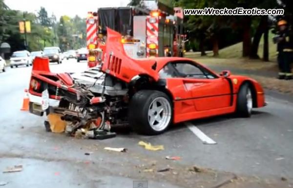 Ferrari F40 Wrecked Vancouver Canada