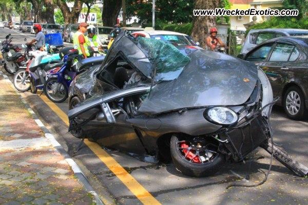 Porsche 911 Turbo Convertible Wrecked Penang Malaysia
