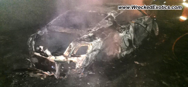 What is left of Bentley Continental GT after high speed crash & fire